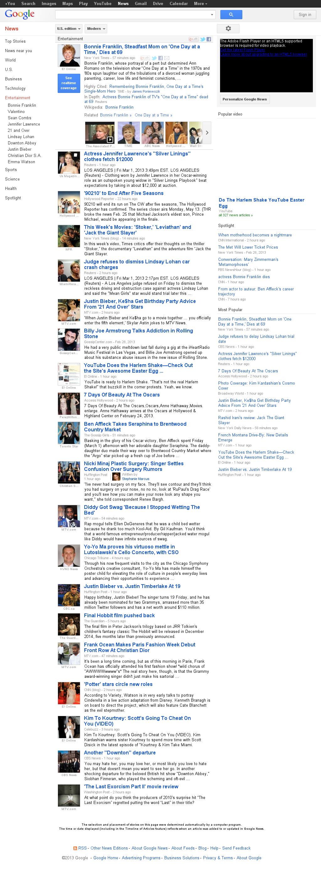 Google News: Entertainment at Friday March 1, 2013, 10:07 p.m. UTC