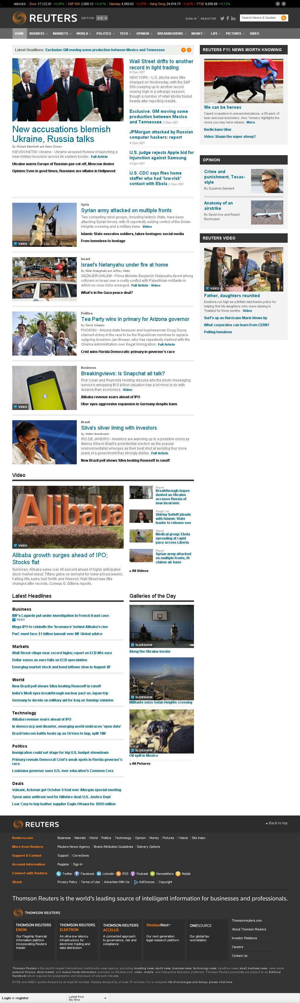 Reuters at Wednesday Aug. 27, 2014, 10:15 p.m. UTC