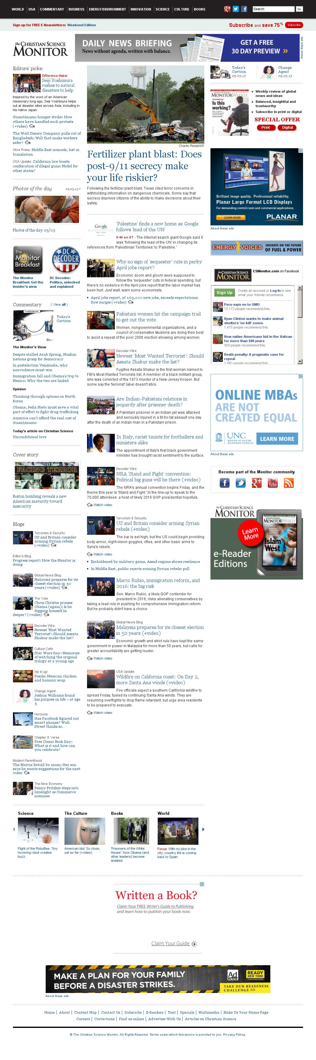 The Christian Science Monitor at Saturday May 4, 2013, 1:05 p.m. UTC