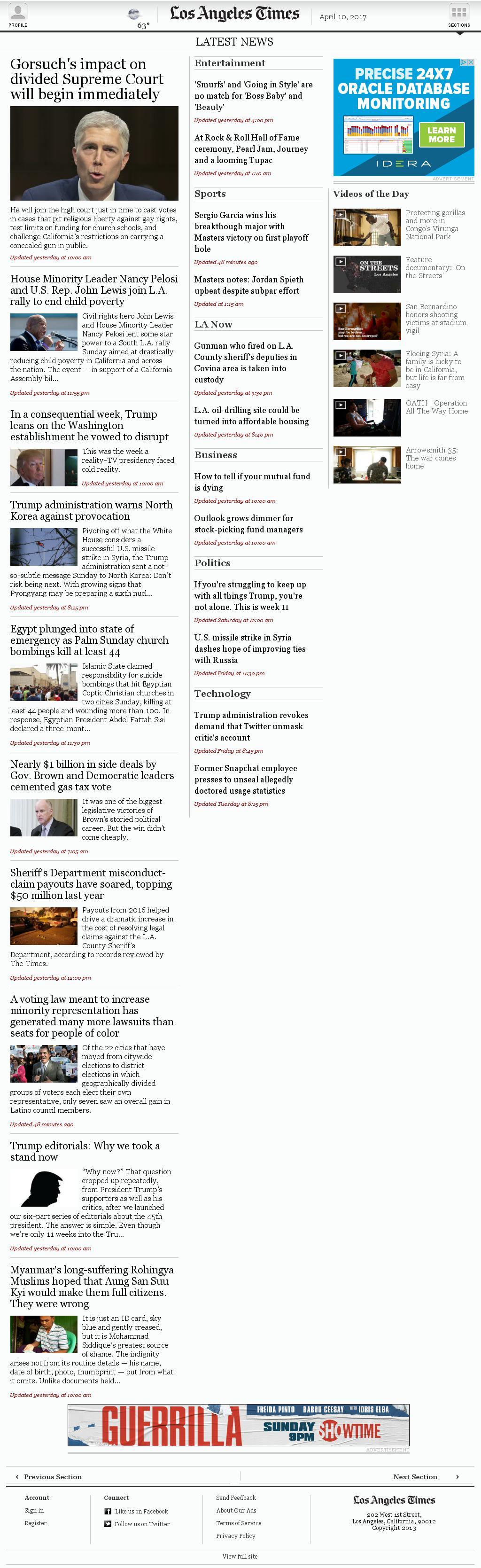 Los Angeles Times at Monday April 10, 2017, 4:08 a.m. UTC